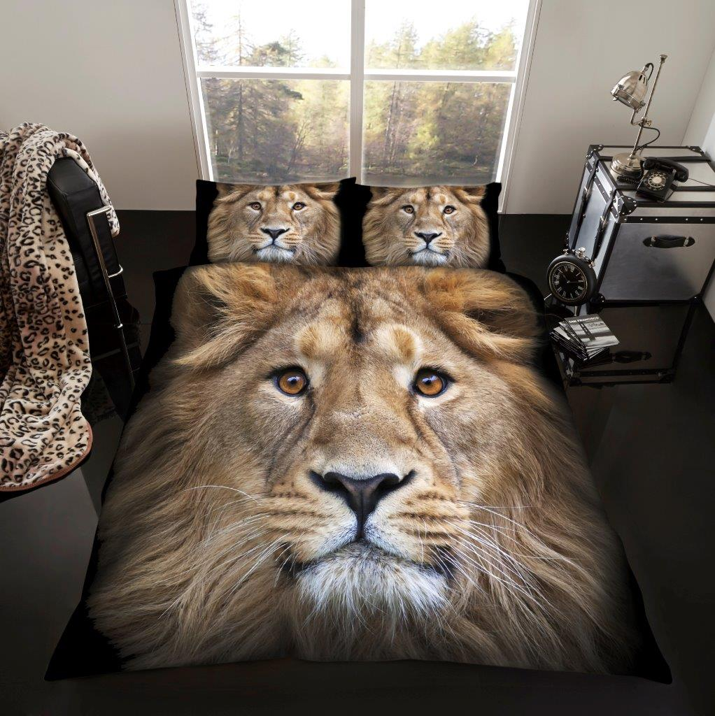 3d animal lion premium duvet cover bedding set single. Black Bedroom Furniture Sets. Home Design Ideas