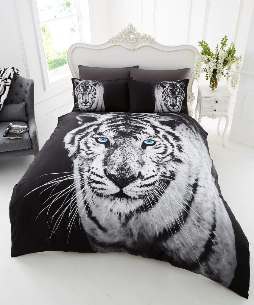 3d animal white tiger premium duvet cover bedding set for Housse de couette lit king size