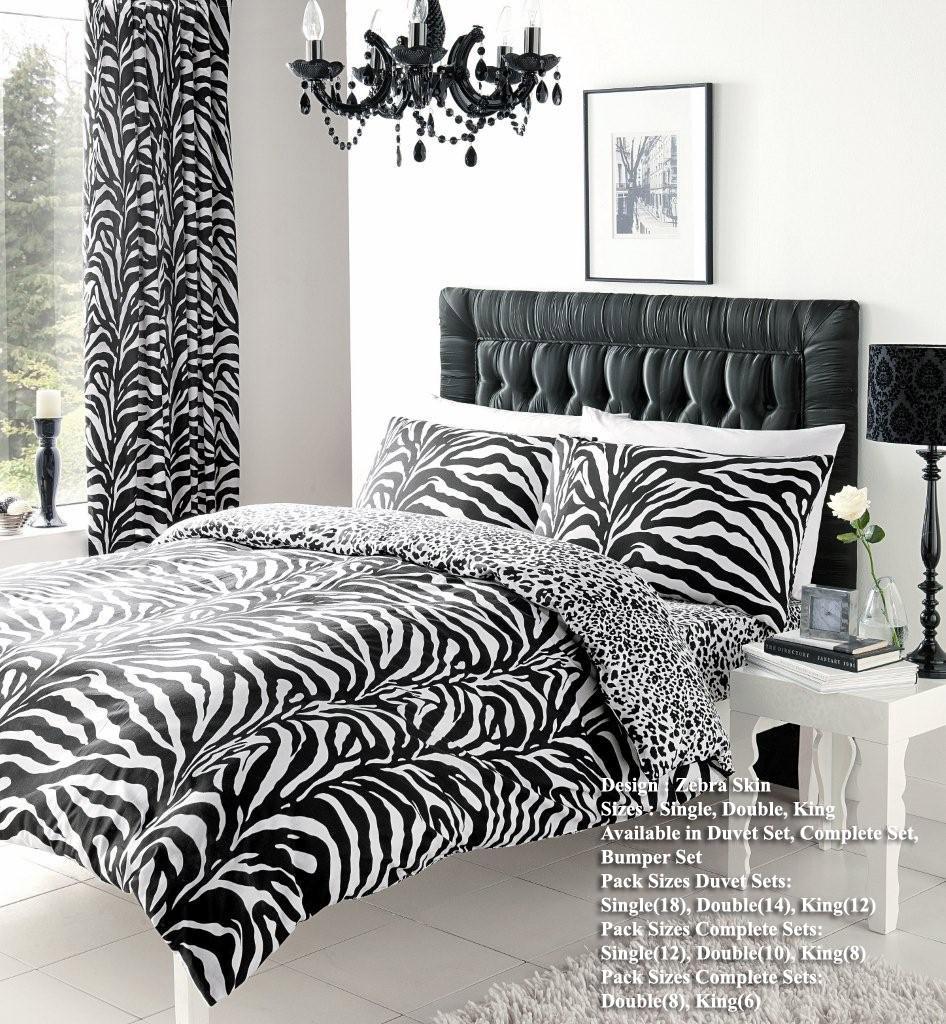 Zebra Skin Printed Duvet Cover Floral Bedding Set Single Double King