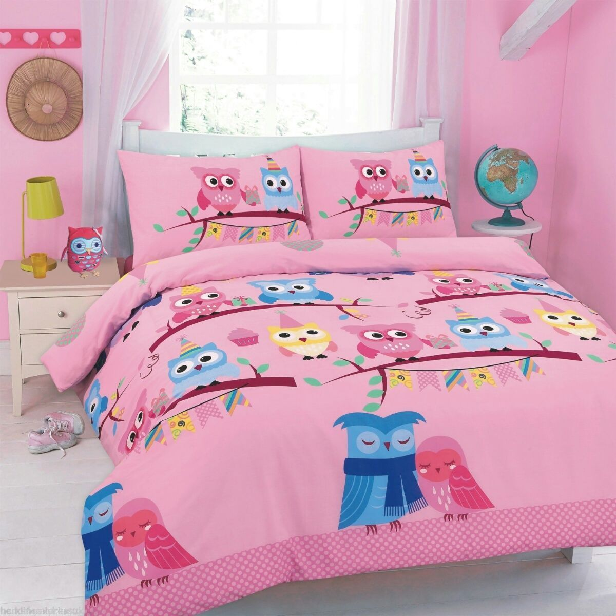cute owls floral printed duvet cover bedding set single pink  ebay - picture  of