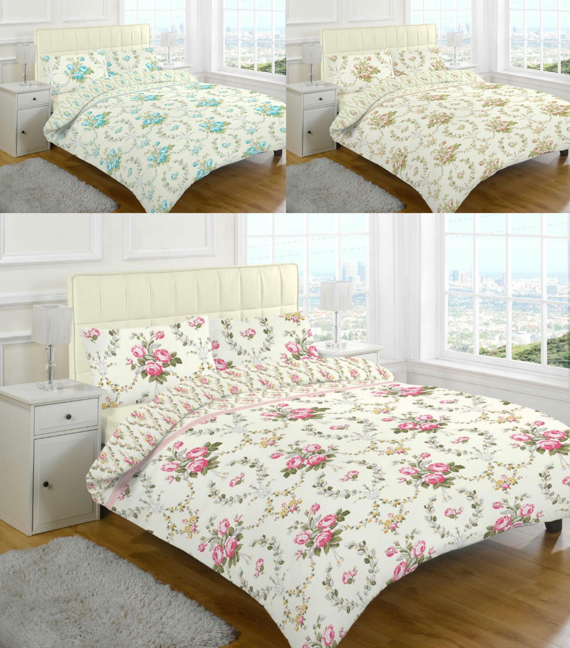 Olivia Floral Brushed Cotton Flannelette Thermal Duvet Cover Bedding Set