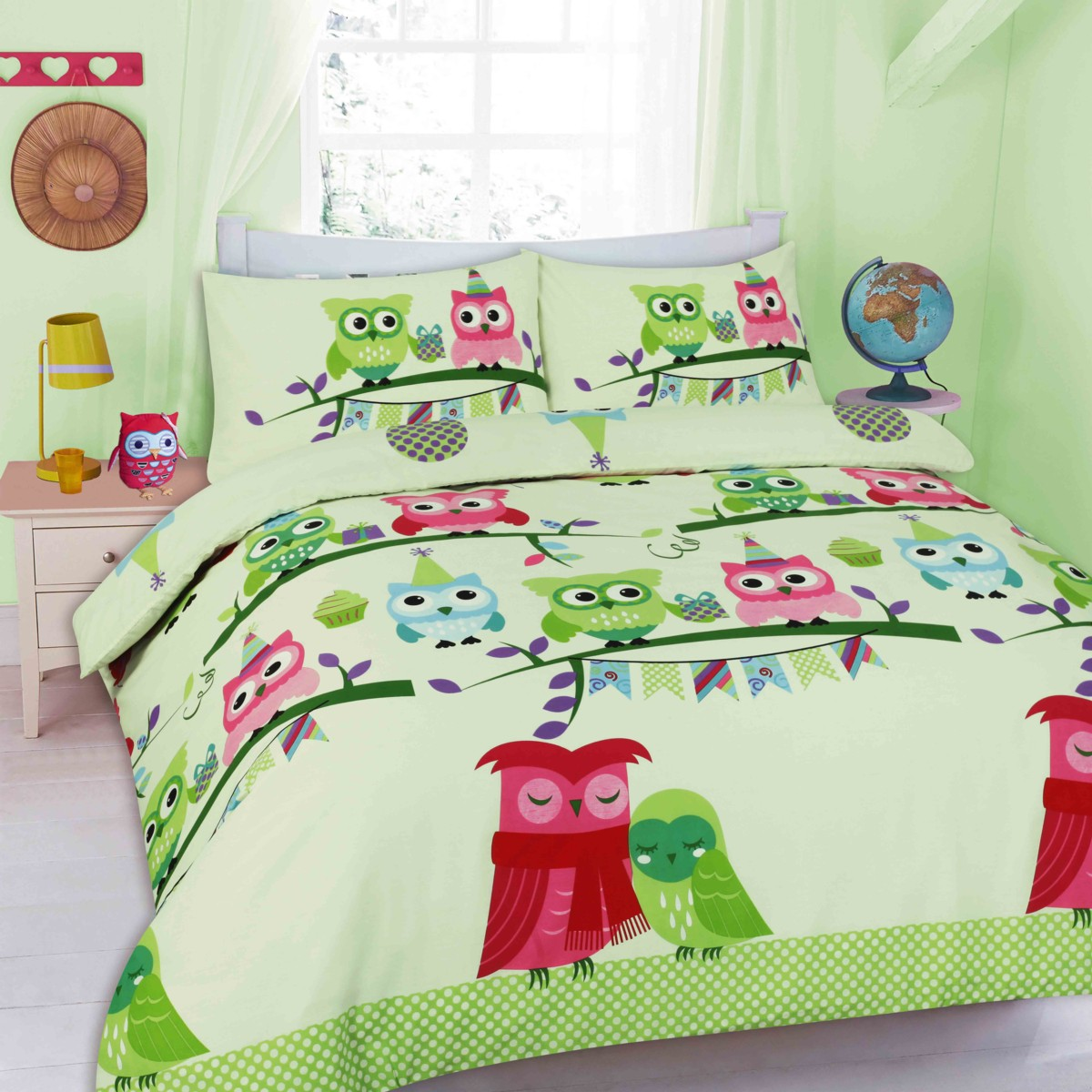 Cute Owls Floral Printed Duvet Cover Bedding Set eBay
