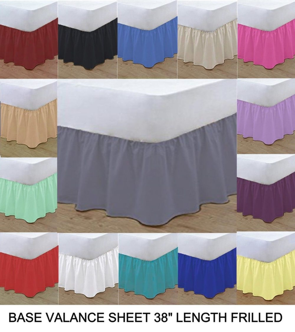 Poly Cotton Base Valance Frilled Plain Bed Sheets Bed