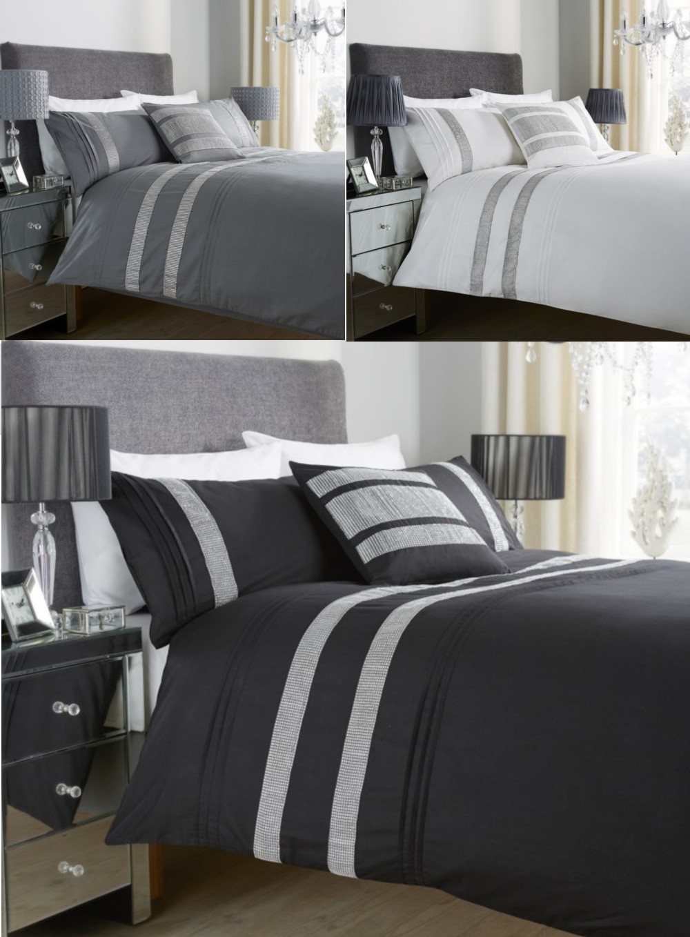 glitz diamant spitze bettw sche set alle gr en ebay. Black Bedroom Furniture Sets. Home Design Ideas