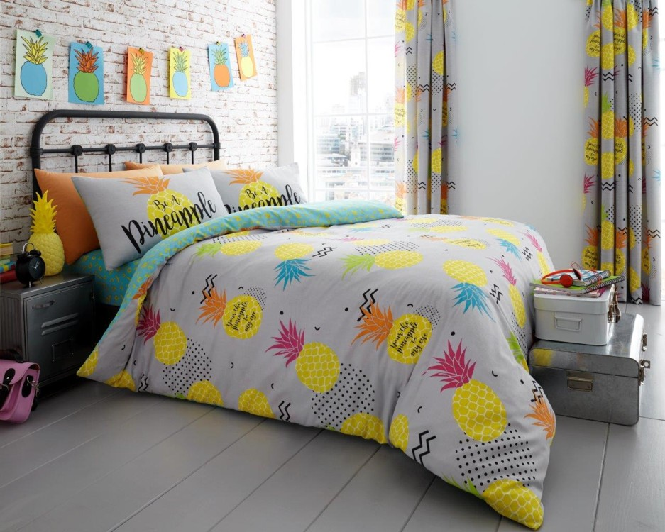 Pineapple Floral Modern Duvet Cover Bedding Quilt Set All