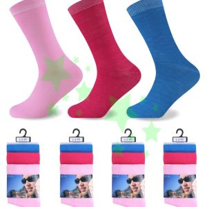 linenstar socks ladies-plain-pink-fuchsia