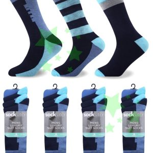 linenstar men-oxford-suit-socks-black-blue