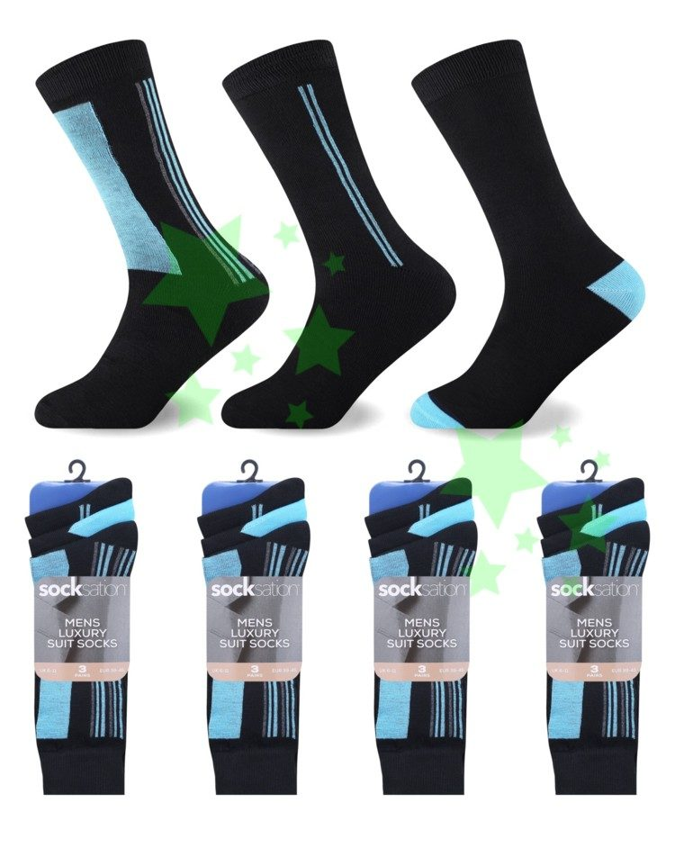 Linenstar men-suit-socks-aqua-double-stripe