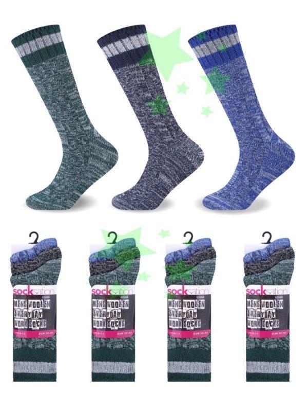 Linenstar men-woolen-everyday-work-socks-blue-green