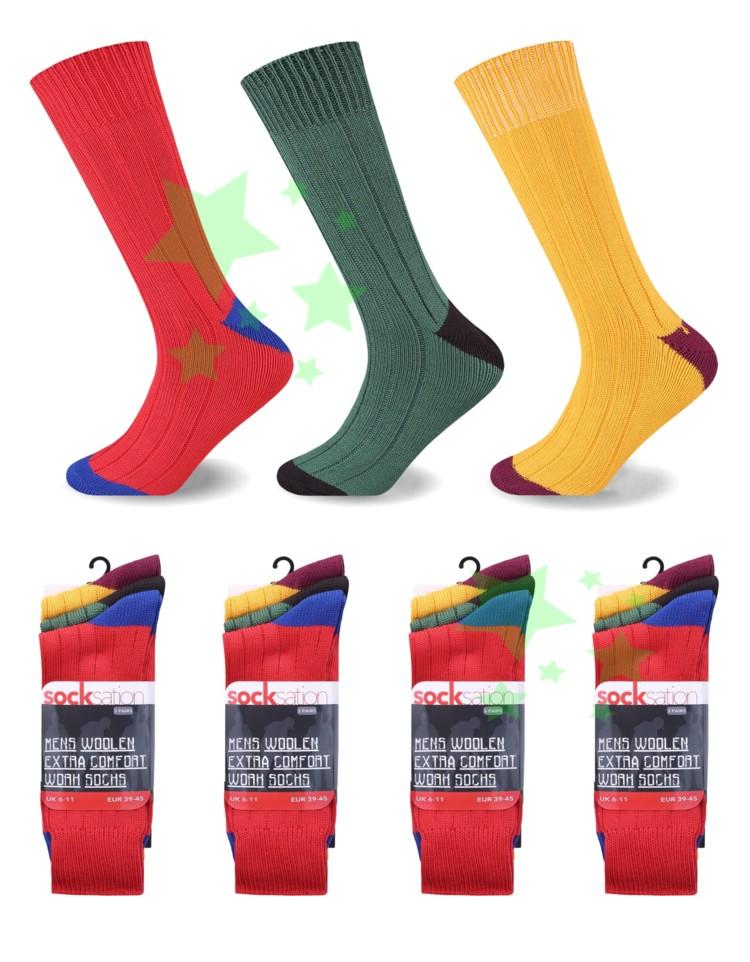 linenstar men-woolen-xtracomfort-worksocks-Yellow-Red