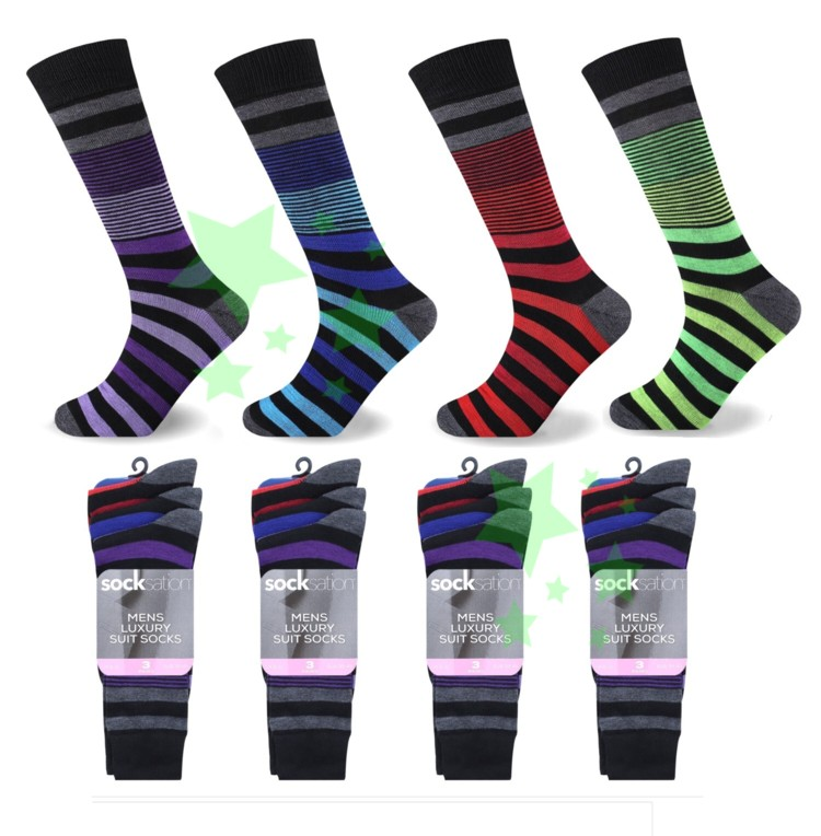 Linenstar mens-suit-socks-thin-and-thick-stripes