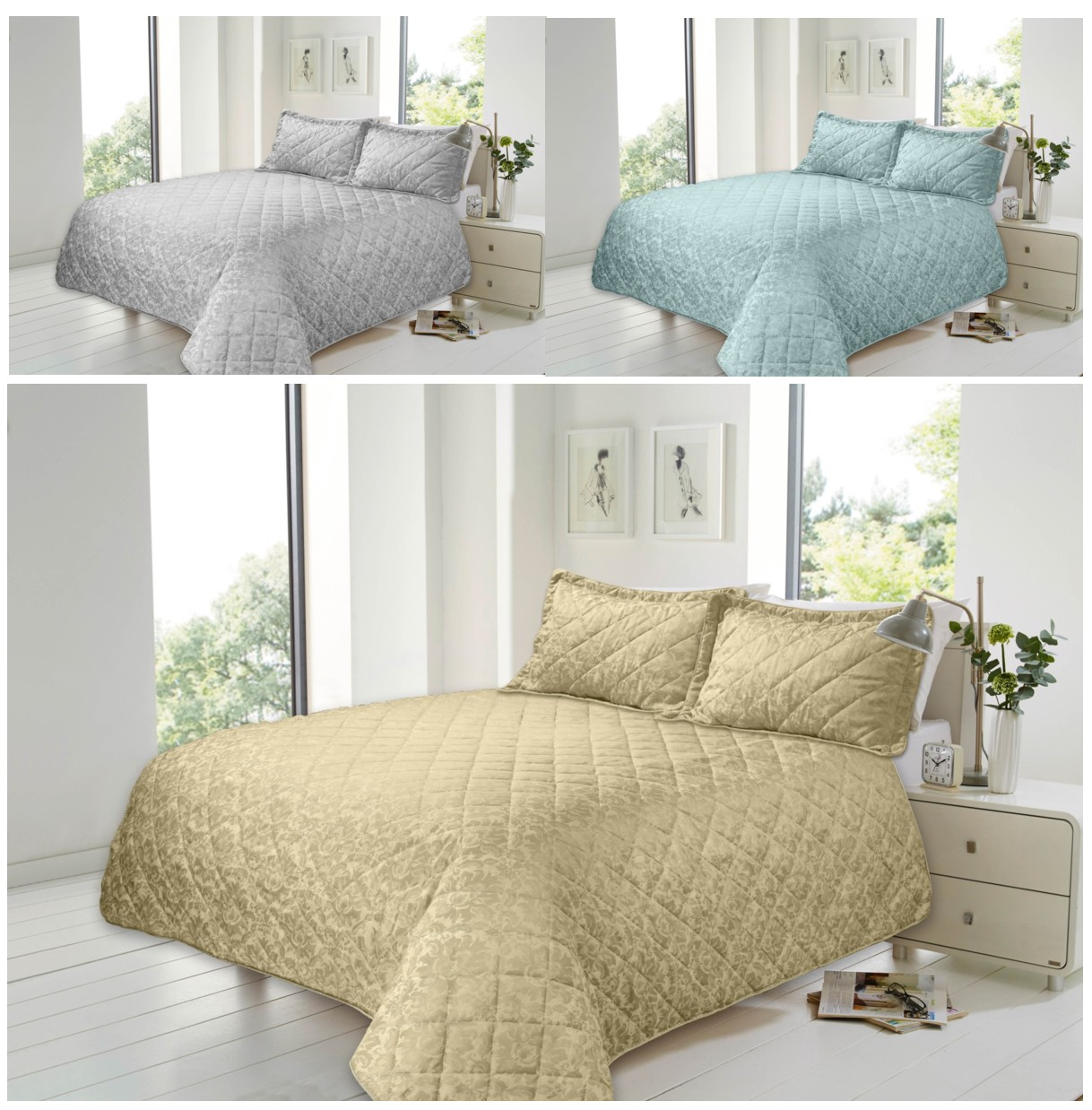 Savoy Cotton Rich Jacquard Quilted Bedspread 2 Pillow