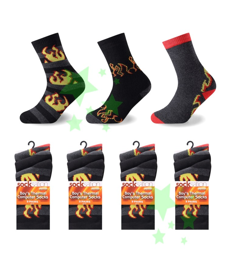linenstar socks boys-thermal-flame