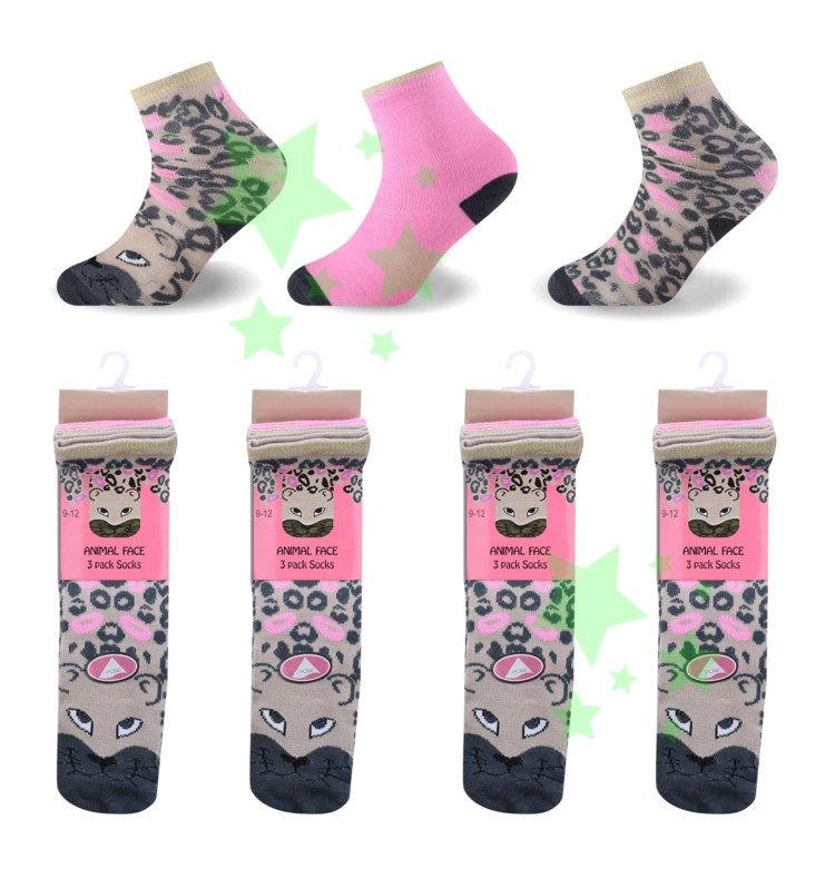 linenstar socks girls-animal-face-leopard
