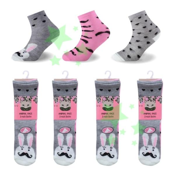 linenstar socks girls-animal-face-mustache
