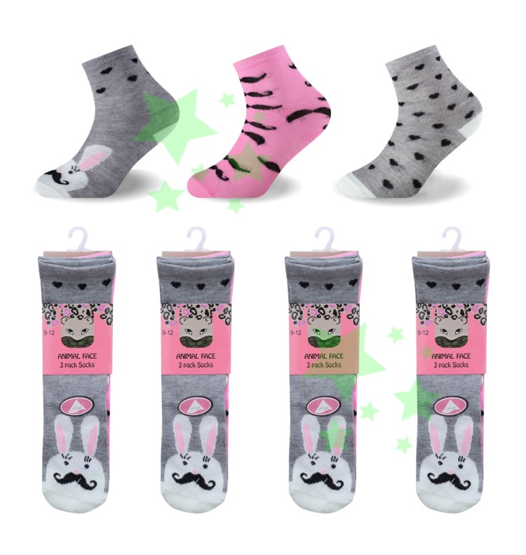 linenstar socks girls-animal-face-mustache