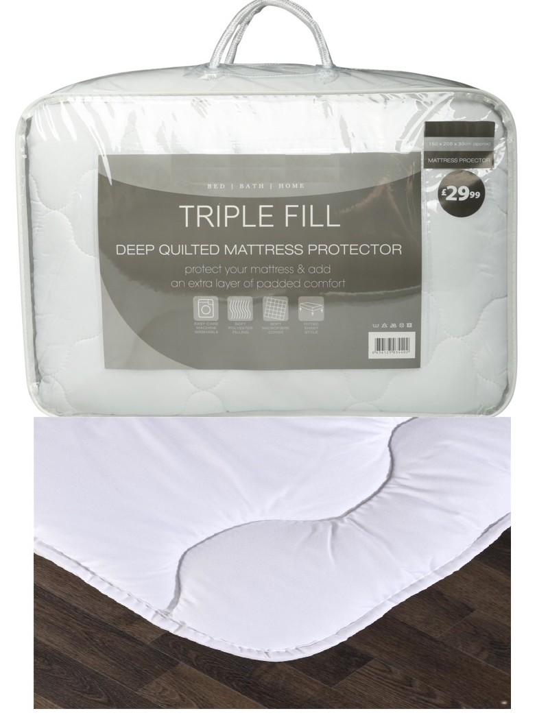 Triple Fill Deep Quilted Mattress Protector Topper Fitted