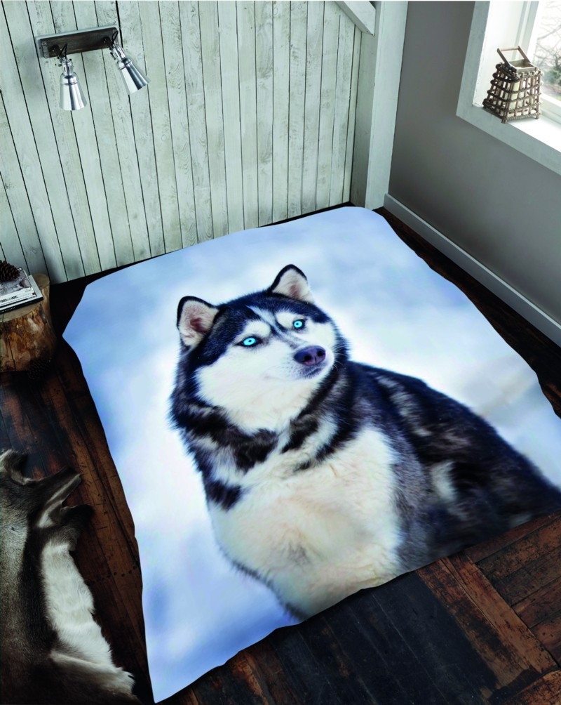 Husky Dog 3d Cosy Blanket Sofa Throw Christmas Gift Double