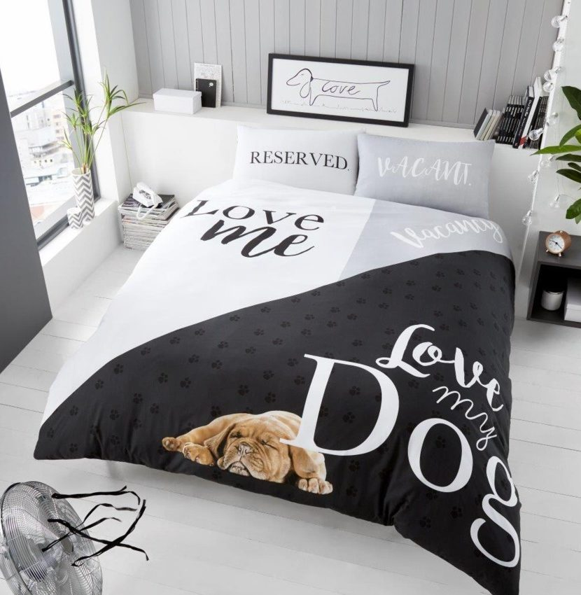 3d Love My Dog Modern Duvet Cover Bedding Quilt Set