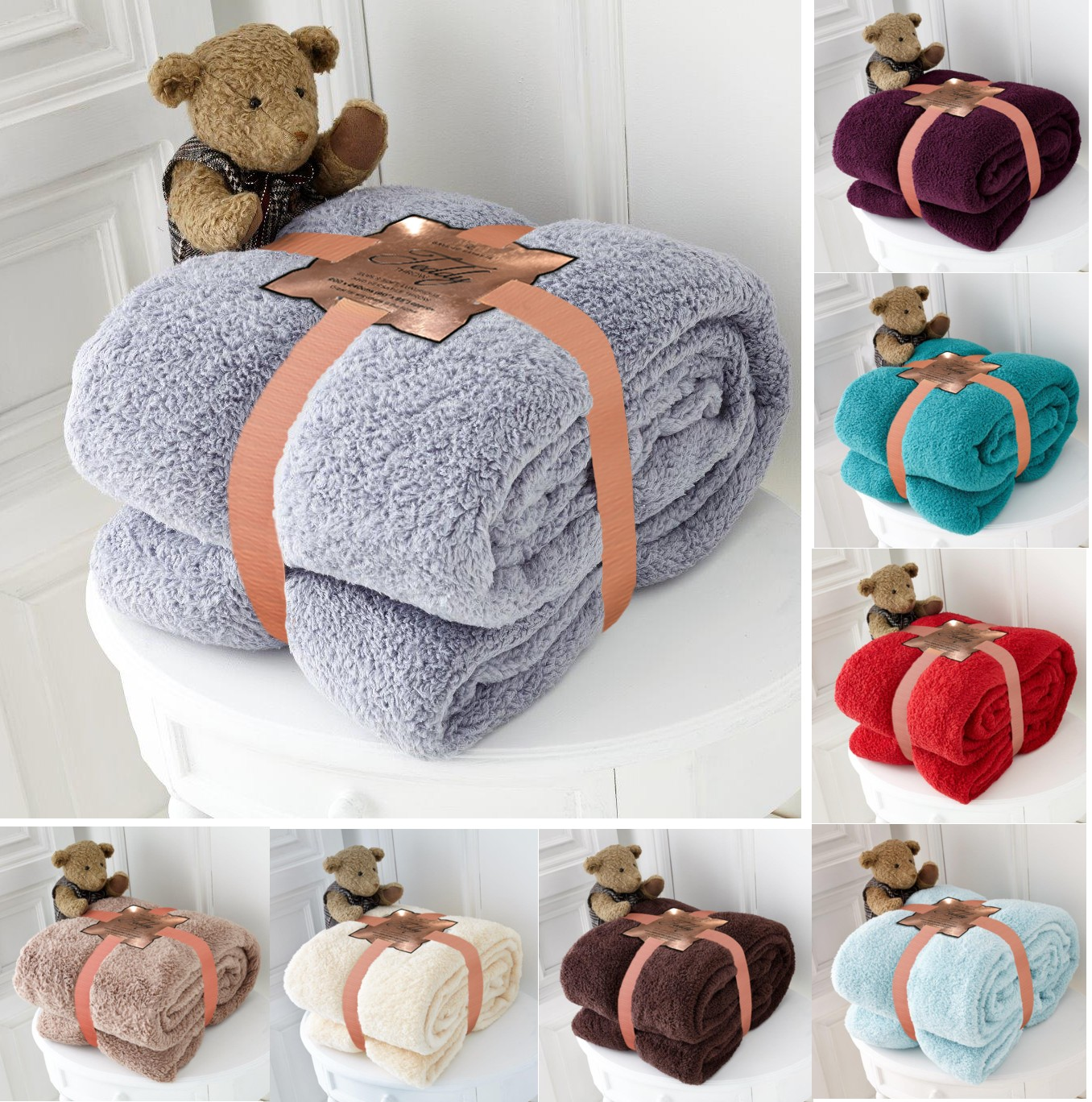 Teddy Bear Super Soft Cudly Blanket Sofa Throw Size 130 X