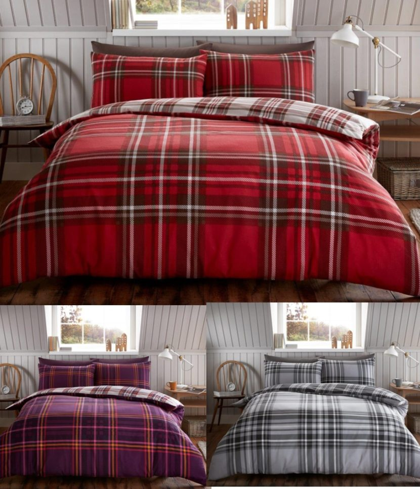 Tartan Check Brushed Cotton Flannelette Duvet Cover