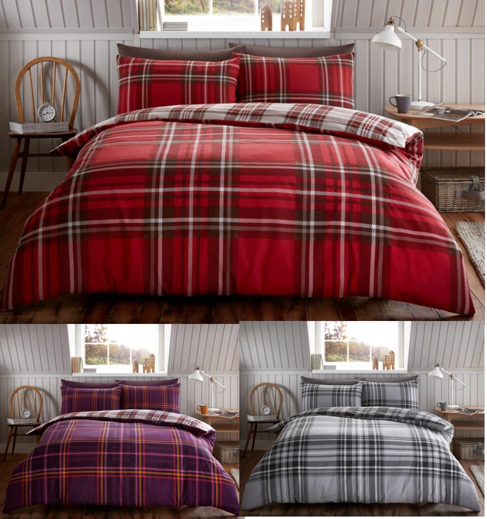 tartan carreaux coton bross flannelle housse de couette polaire ebay. Black Bedroom Furniture Sets. Home Design Ideas