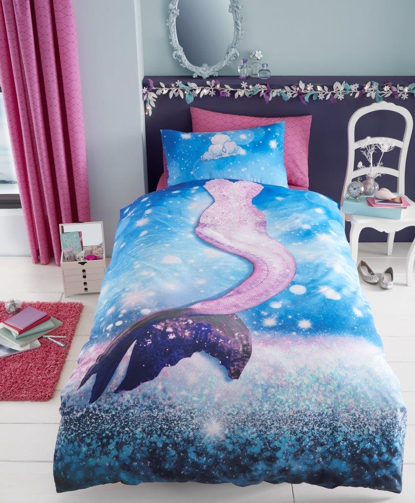 Mermaid Selfie Girls Kids Single Duvet Quilt Cover