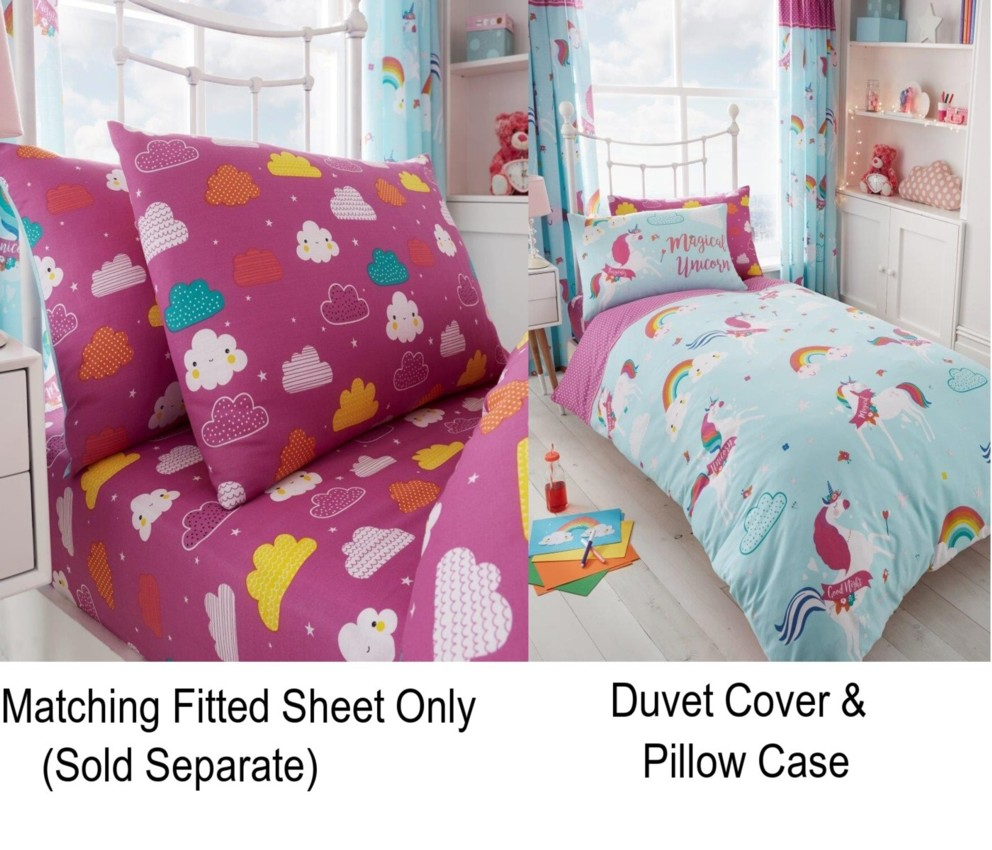 Matching Accessories Separately Kids Childrens Duvet Quilt Cover Bedding Set