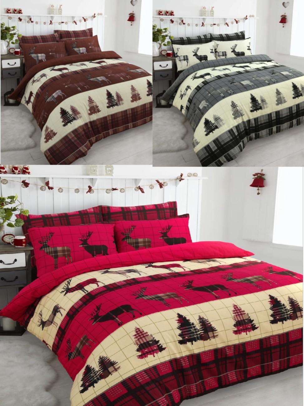 flannelette stag brushed cotton christmas tree thermal. Black Bedroom Furniture Sets. Home Design Ideas