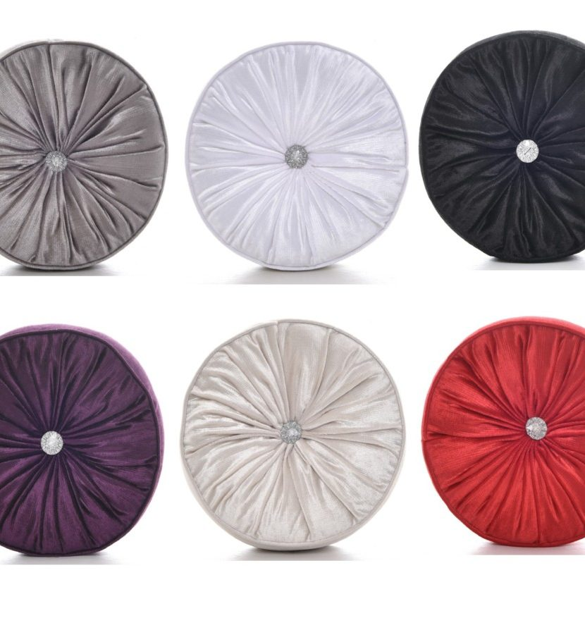 Chenille Round Diamante Filled Scatter Cushions Machine