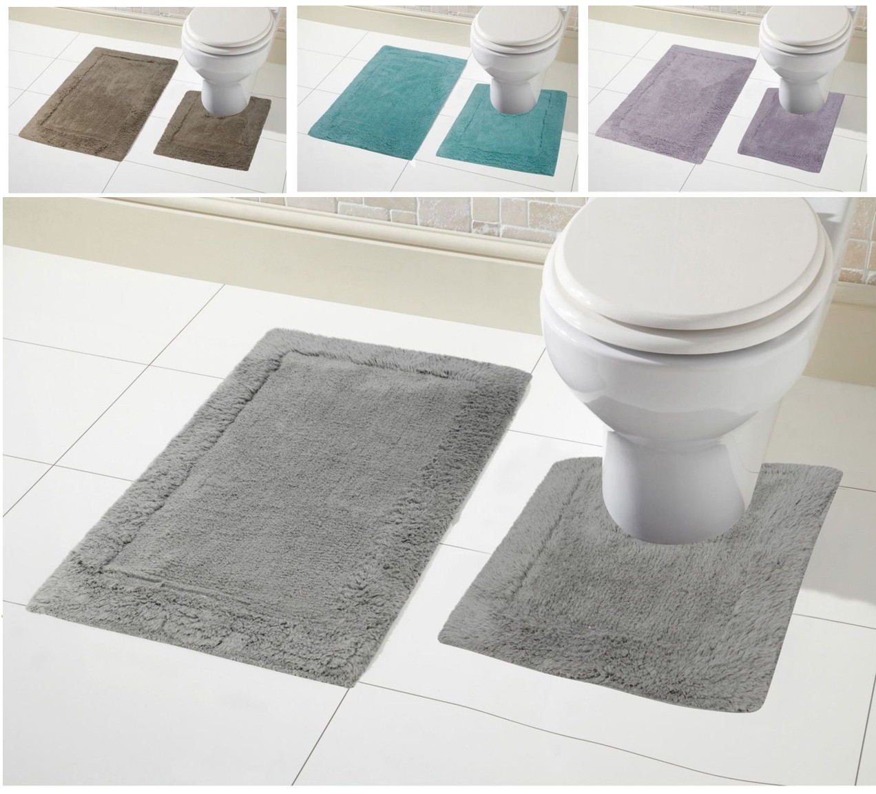 2 Piece 100 Cotton Bath Mat Set Non Slip Pedestal Amp Mat