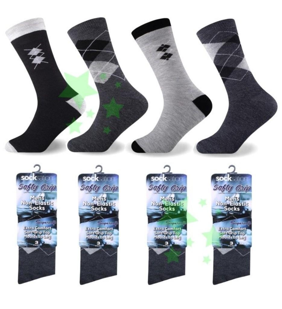 12 Pairs Mens Non Elastic 100/% Pure Cotton Socks Comfort Soft Grip Diabetic 6-11