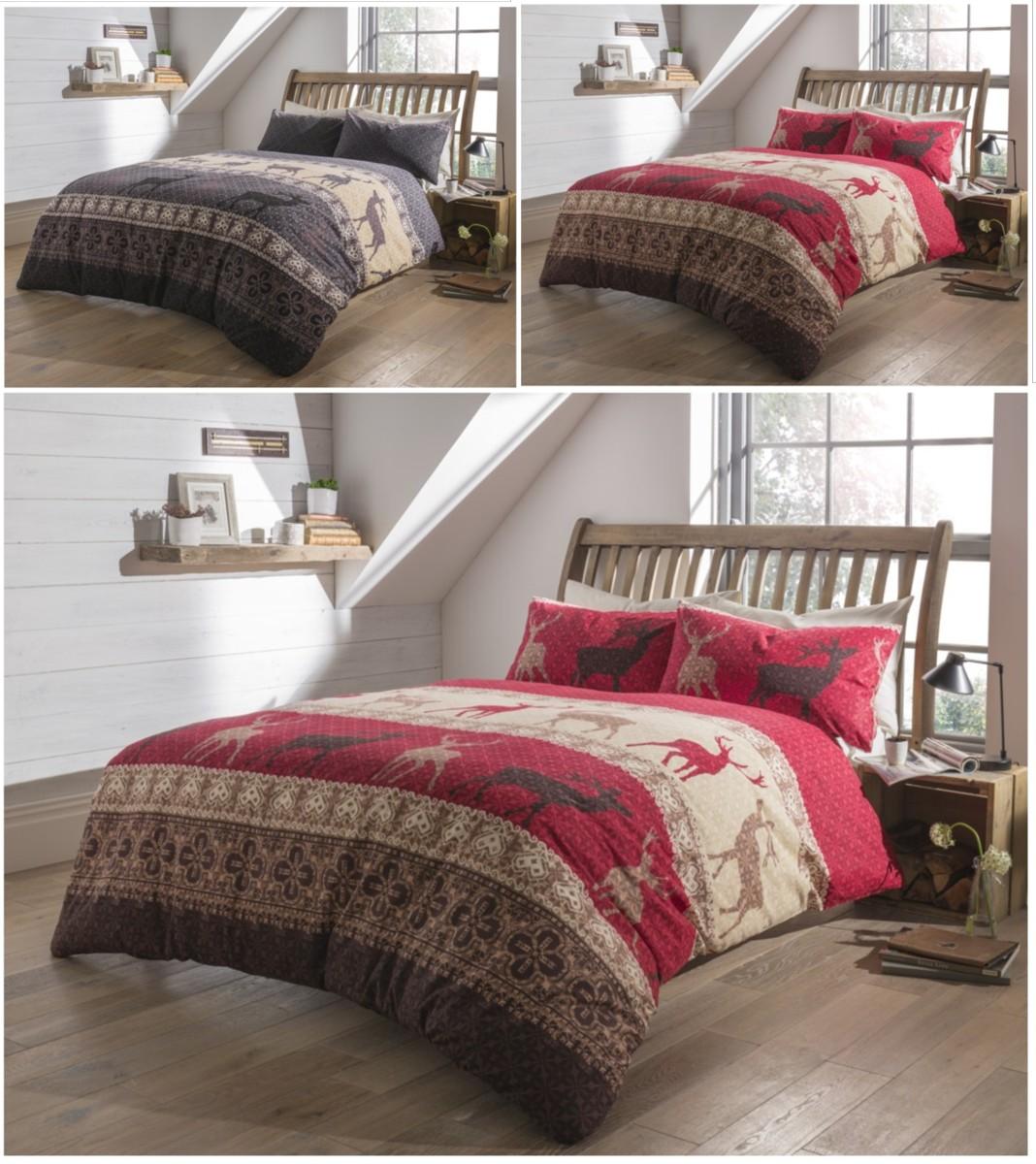 fair isle flannelette stag brushed cotton christmas duvet. Black Bedroom Furniture Sets. Home Design Ideas