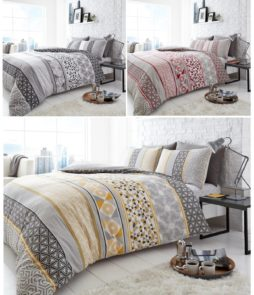 Chester Stripe 4 Pcs Duvet Cover and fitted sheet Polycotton Stripes Bedding Set