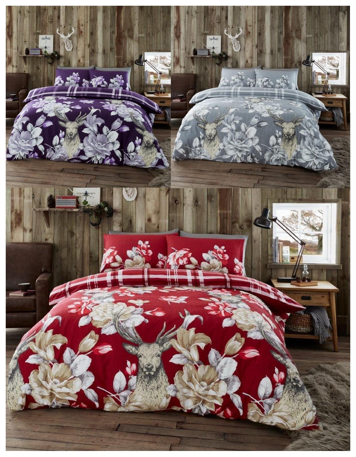 laura stag flannelette duvet cover brushed cotton. Black Bedroom Furniture Sets. Home Design Ideas