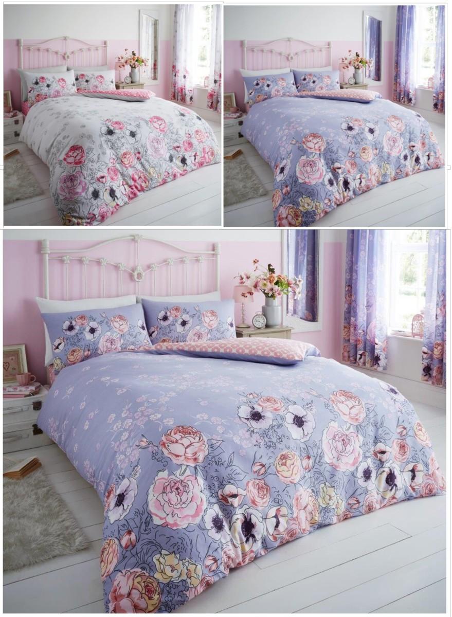 Violet Cottage Roses Duvet Quilt Cover Floral Bedding Set