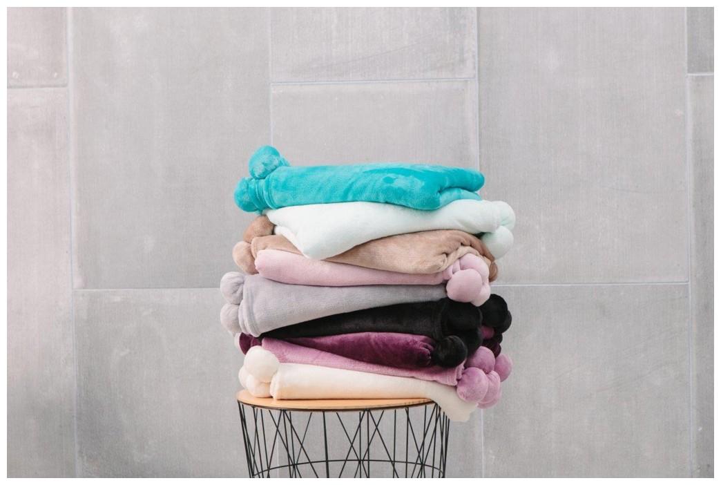 Pom Pom Super Soft Throw Cuddly Fleece Blanket For Sofa