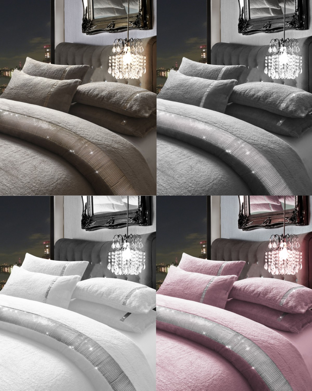 Teddy Fleece Duvet Quilt Cover Set Diamante Lace KASIA with Pillowcase Set