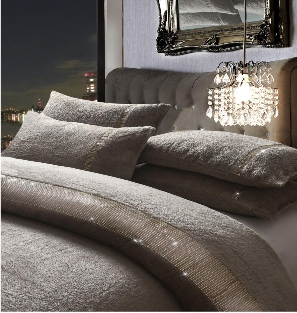 Teddy Fleece Diamante Lace Duvet Quilt Cover Cosy Kasia Bedding Set With Pillow Case Linenstar